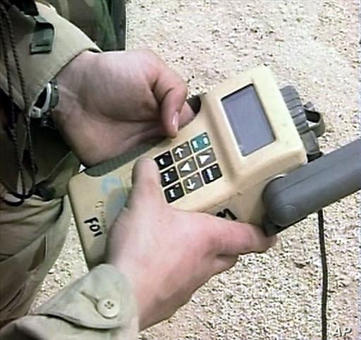 GPS navigation device held by US soldier, Kuwait, video still